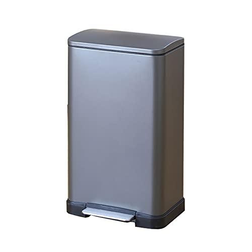 Cubos de basura para la cocina Bote de basura con tapa con la bandeja de acero inoxidable de la tapa de la bandeja de acero inoxidable. Pedal de gran capacidad Bin-Silent y suave abierto y cierre Cubo