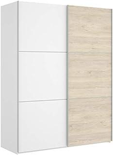 HABITMOBEL Armario Puertas correderas Estrella 150 cm de Ancho Alto 204cm Natural - Blanco Brillo