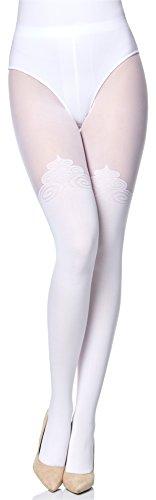 Merry Style Collant Fantaisie à Motif Lingerie Sexy Sous-vêtements Femme MS 389 60 DEN (Blanc, L)