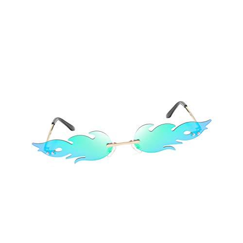 STOBOK Gafas de sol Fire Flame Novedad sin montura en forma de fuego, gafas de sol novedosas para mujeres y hombres, verde