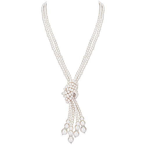 """BABEYOND 1920s Imitation Pearls Necklace Gatsby Long Knot Pearl Necklace 49"""" 20s Pearls 1920s Flapper Accessories (Knot Pearl Necklace x 2)"""