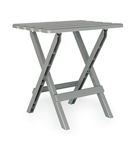 Camco Large Adirondack Portable Outdoor Folding Side Table - Perfect for The Beach, Camping, Picnics, Cookouts and More - Weatherproof and Rust Resistant - Gray (21038)