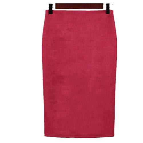 N\P Primavera Gris Rosa Mujeres Suede Midi Lápiz Faldas Causal Cintura Alta Sexy Stretch Señoras Oficina Trabajo