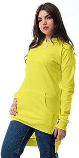 هودي قطن طويل بغطاء للرأس ورباط بفتحات جانبية للنساء من اندورا