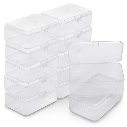 BELLE VOUS Caja Plástico Almacenamiento (Pack de 12) - (9 x 6 x 3,3cm) - Cajas de Orden Plástico Transparente - Caja de Almacenamiento Rectangular para Abalorios, Joyas, Hallazgos Relojes