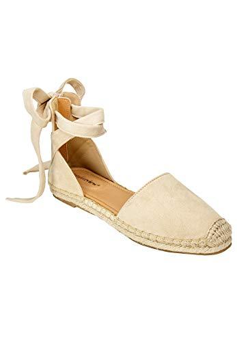 Comfortview Women's Wide Width The Shayla Flat Espadrille Shoes - 9 WW, Light Tan Brown