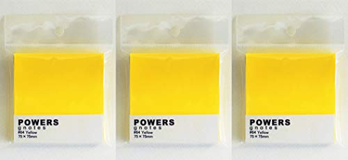プリントインフォームジャパン gnotes 粘着力と糊面積アップふせん 「POWERS」75×75mm 【3個セット】 (イエロー)