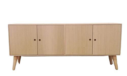Aparador Retro 4 puertas. En madera de Castaño y Aliso. En crudo, se puede pintar. Medidas (ancho/fondo/alto): 140*30*60 cms. Cuatro puertas con uñero circular. Balda interior. Patas enroscables..