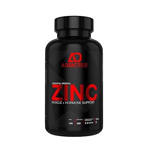 ZINC von ADDICTED® • Zink Tabletten hochdosiert für Sportler | Bodybuilder | schöne Haut | Immunsystem • Zinktabletten aus Zinkgluconat für Proteinsynthese in Muskeln • Essenzielles Supplement