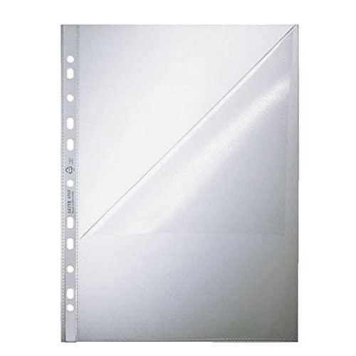 Leitz Standard Prospekthüllen-Set, 100 Stück, A4 Format, Farblos mit matter Oberfläche, Öffnung oben und Lochseite, 0,085 mm PP-Folie, 47970000