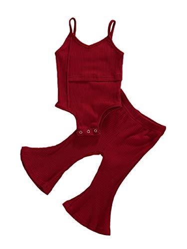 MAHUAOYIXI Dos piezas de pelele sin mangas con cuello en V para niña Rojo/Vino 0-6 Meses