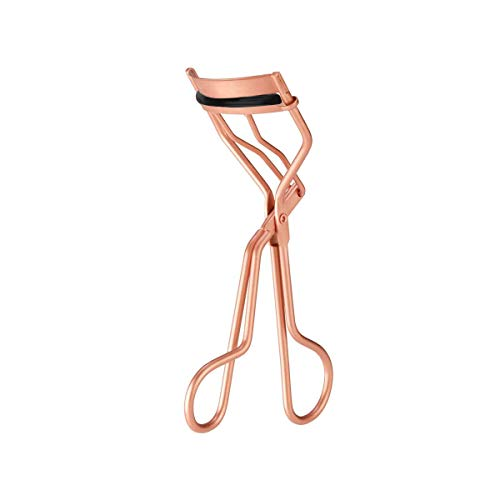 Rizador de pestañas, Rizador de pestañas profesional con almohadilla de silicona, oro rosa