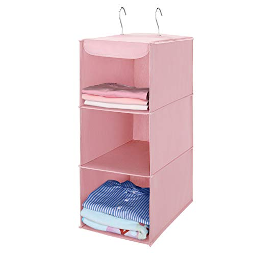 MaidMAX hangende opbergruimte met 3 vakken, kledingkast organizer, opvouwbare hangplank, hangende organizer van stof, hangende stoffen kast met ijzeren frame, opbergsysteem voor kleding-roze
