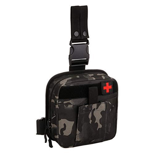 Kousa - Bolsa de muslo, diseño de camuflaje negro para primeros auxilios, riñonera para piernas de emergencia al aire libre para escalada y senderismo