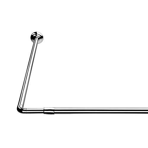 Croydex, Barra extensible en forma de L para la cortina de la ducha,plateado, 74 x 140/260 cm
