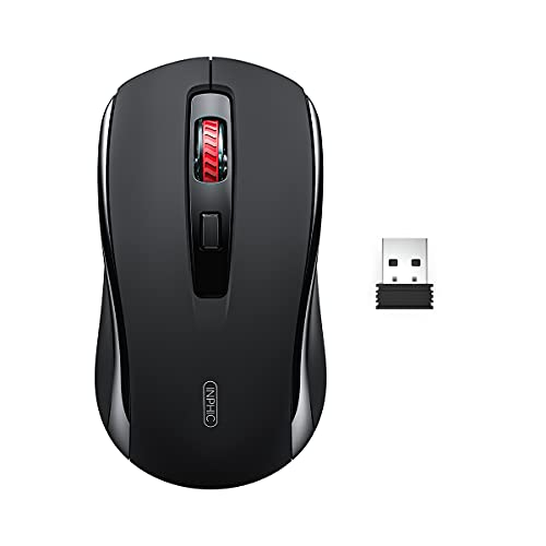 INPHIC Wireless Mouse, 2.4G Wireless Ergonomic Mouse for Laptop, 5 Adjustable 2400 DPI Cordless Optical Mouse with USB Receiver Portable Computer Mice for Mac PC Desktop Chromebook Notebook, Black