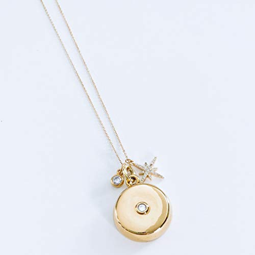 invisawear Smart Jewelry - Personal Safety Device - Gold Star Burst Charm Necklace with Crystal Pendant
