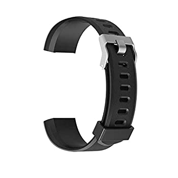 schicj133mm ID115 Plus HR Replacement Wristband-Adjustable Replacement Strap for Activity Tracker-Smart Sports Bracelet Silicone Strap Pure Color Black