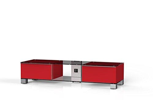 Sonorous MD 9145-Meubles c-inx-WHT Red Téléviseur avec Verre Transparent Aluminium INOX, Corps Brillant Décor (Rouge)