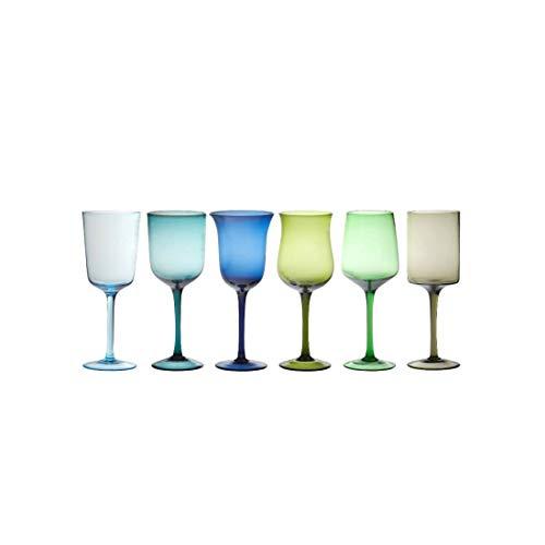 Bitossi Home 'DISEGUALE Collezione, Set 6 CALICI Nuance Blu/Verde Assortiti
