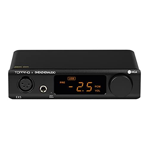 Topping EX5 MQA Dual ES9038Q2M DAC Bluetooth 5.0 LDAC DSD512 PCM 768kHz Hi-Res Audio HiFi Decoder Headphone Amplifier (Black)
