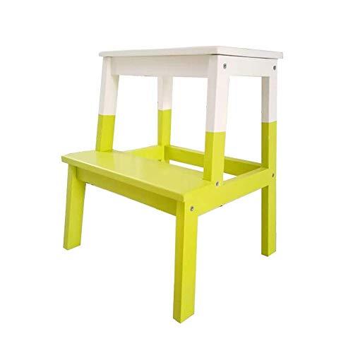 GUOXY Multifunktions-Trittschemel, 2 Stufen Kind Und Erwachsener Holzleiter Schuh Hocker Küche Badezimmer Fuß Hocker Höhe,Grün