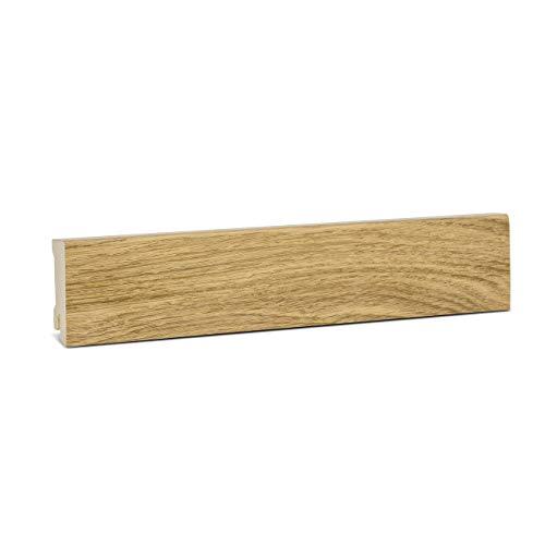 KGM Sockelleiste Eiche Parkettleiste Fußleisten – Modern 58mm ✓Echtholz Fichte Träger ✓Furnier Holz Oberfläche | Sockelleisten für Laminat & Parkett | Holzleisten Eiche 16x58x2500mm