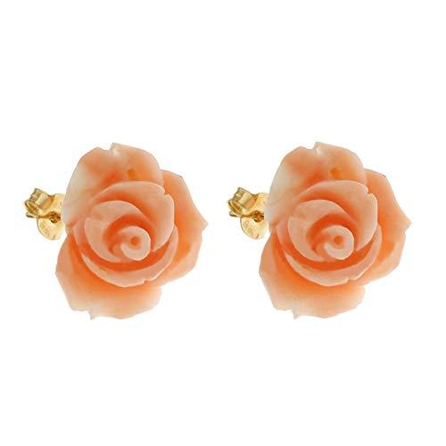 Orecchini In Oro Giallo 18k 750/1000 A Forma Di Rose In Corallo Da Donna