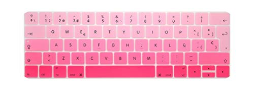 TouchBar EU Spain Spanish Keyboard Cover for New MacBook Pro 13 15 Retina with Touch Bar 2020 2019 2018 2017 2016 A2159 skin-fadePink-