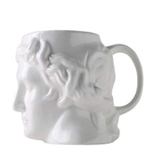 Copa de Leche Cerámica Creativa Taza de café España Antigua Grecia Apolo Cabeza de la Escultura Romana Bei Bei Taza,Blanco