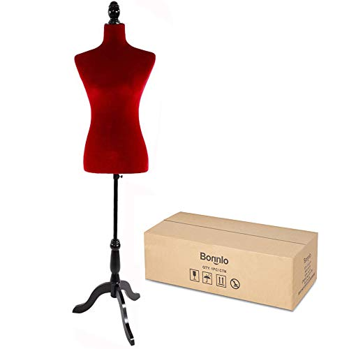 Bonnlo Female Dress Form Pinnable Mannequin Body Torso with Wooden Tripod Base Stand (Red, 6)