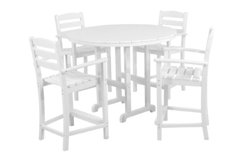 Hot Sale POLYWOOD PWS143-1-WH La Casa Café 5-Piece Counter Set with Table and Chair, White