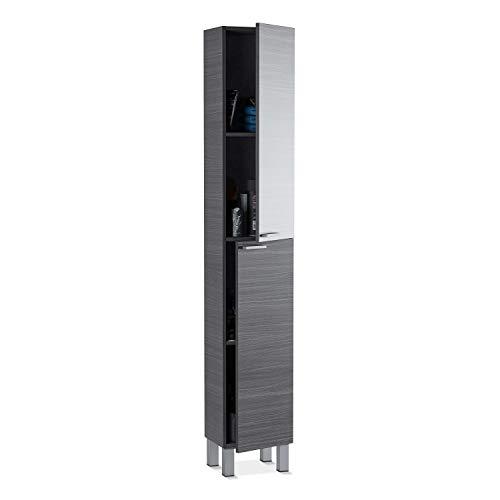 ARKITMOBEL 305260G, Columna de baño Koncept con 2 Puertas y 4 Patas, Color Gris Ceniza, Medidas: 182 cm (Alto) x 30 cm (Largo) x 25 cm (Fondo)