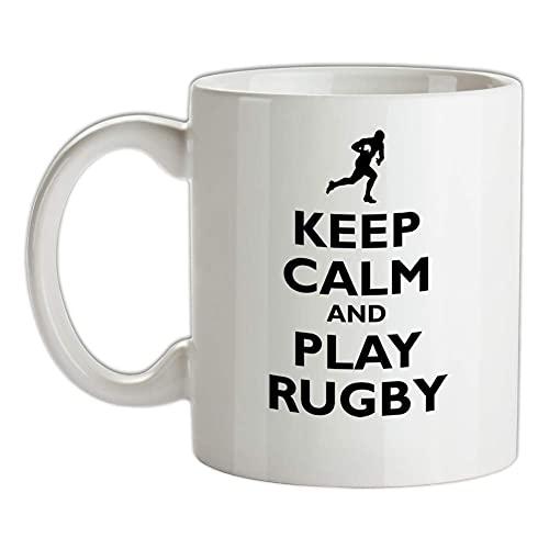 Taza de cerámica con texto en inglés 'Keep Calm and Play Rugby', de la Liga de la Unión de Jugador Deporte 11 oz