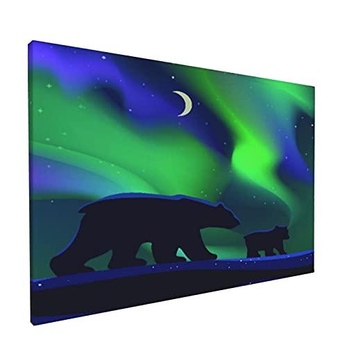 Sin Marco Mural Impresiones en Lienzo,Osos Blancos Caminando En La Noche Polar Y Aurora En El Cielo,Oficina en Casa Decoración Mural Pintura al óleo Arte de Moda,18' x 12'
