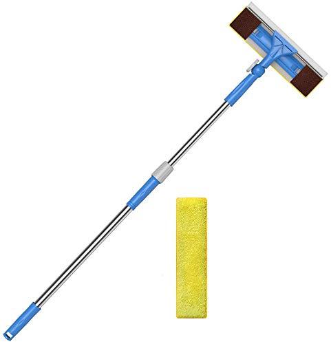 Merisny Limpiacristales 2 en 1 con Microfibra Telescópico Mango, 180 Grados Ajustable, 1.45m para Ventanas, Vidrio, Tanque de Peces, Espejo