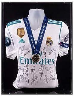 El Equipo del Real Madrid firmó la Camiseta de la Final de la Liga de campeones Kiev 2018 y la exhibición de medallas de ganadores: Amazon.es: Deportes y aire libre