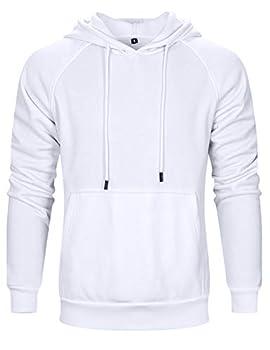 Mens Simple Lightweight Pullover Fleece Hoodie Sweatshirt White-M