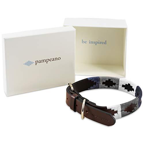 Roca Premium Hundehalsband aus argentinischem Leder von Pampeano | Halsbänder für alle Hunderassen | 1,5 cm breit, handgenäht, braunes Leder für Hunde | Hochwertige Edelstahlschnalle