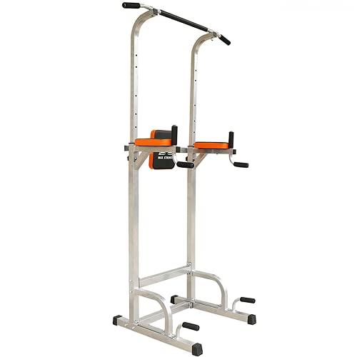 Maxstrength Pull up Tower gimnasia multi-gimnasio, con elevaciones verticales de rodillas, para hacer dips, push-ups, pull-ups y otros ejercicios corporales