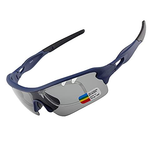 YYLI Gafas De Sol Polarizadas, Protección UV400 Gafas De Ciclismo con 5 Lentes Intercambiables, Hombres Mujeres Gafas De Sol Deportivas para Ciclismo Béisbol Pesca Esquí Funcionamiento,E
