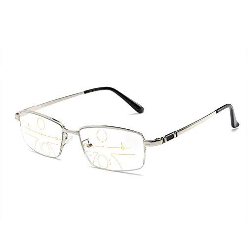 LesegeräTe Smart Zoom Progressive Multifocus-Lesebrille, Photochrome Sonnenbrillen, Metallbrillen Mit Halbem Rand, Optische Outdoor-Brillen Mit Doppeltem Verwendungszweck FüR Nah Und Fern