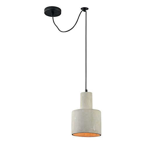 Designer Beton Pendelleuchte Loft, Schirm in grauer Farbe, schwarzes Kabel, Höhenverstellbar, 1-flammig, für Wohnzimmer, Küche, Flur, Esszimmer, Rezeptionexkl. E27 40W, 220-240V