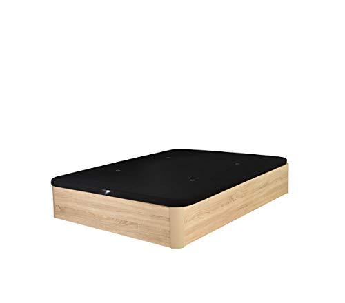 Cama Tapizada 3D Madera Deluxe Maxima Calidad Canapé de Lujo Garantía Canape abatible (135x190 22mm, Roble)