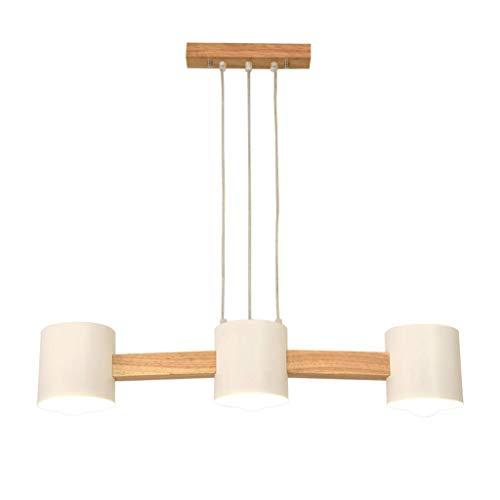 DIRIGIÓ Luz de techo Pendiente de la lámpara de luz de la lámpara de techo Lámpara Living Room Decor Mesa de comedor Office Cafe restaurante E27 nórdica de hierro sólido de madera [energética A +] Par