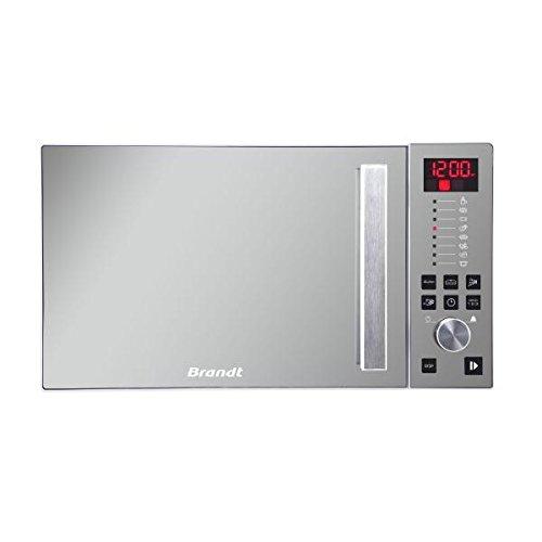BRANDT – Micro-ondes Solo Electronique 26L – 900W – Autoprogramme 8 positions – 3 mémoires – Programme Speed Defrost – Façade miroir – Cavité énamelite – Blanc
