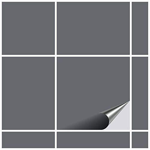 FoLIESEN Fliesenaufkleber 10x10 cm - Fliesen-Folie Bad - Klebefolie Küche - 20 Klebefliesen, Betongrau matt