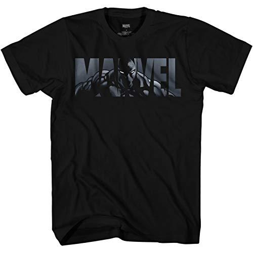 Marvel Logo Black Panther Avengers Super Hero Adult Graphic Men's T-Shirt (Black, X-Large)
