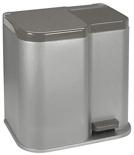 CURVER Mülleimer zur Mülltrennung, Silber/DUNKELGRAU, 30x40x40.5