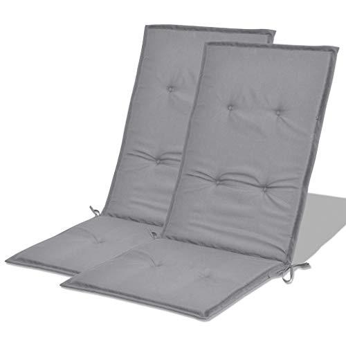 pedkit Stuhlauflagen Hochlehner 2er Set, Hochlehner Auflagen Stuhlkissen Sitzkissen Wasserdicht, mit Elastischen Band (120 x 50 x 3 cm, Grau)